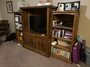 Solid wood entertainment center (3piece) for Sale in El Mirage, AZ