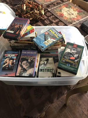 Lot of 25 VHS tapes and VCR Head cleaner tape for Sale in Bradenton, FL