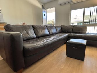 Dark Brown PREMIUM Leather sofas With Ottoman for Sale in Los Angeles,  CA