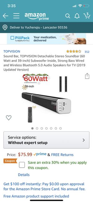 Sound Bar, TOPVISION Detachable Stereo Soundbar (60 Watt and 39-inch) Subwoofer Inside, Strong Bass Wired and Wireless Bluetooth 5.0 Audio Speakers f for Sale in Lancaster, CA