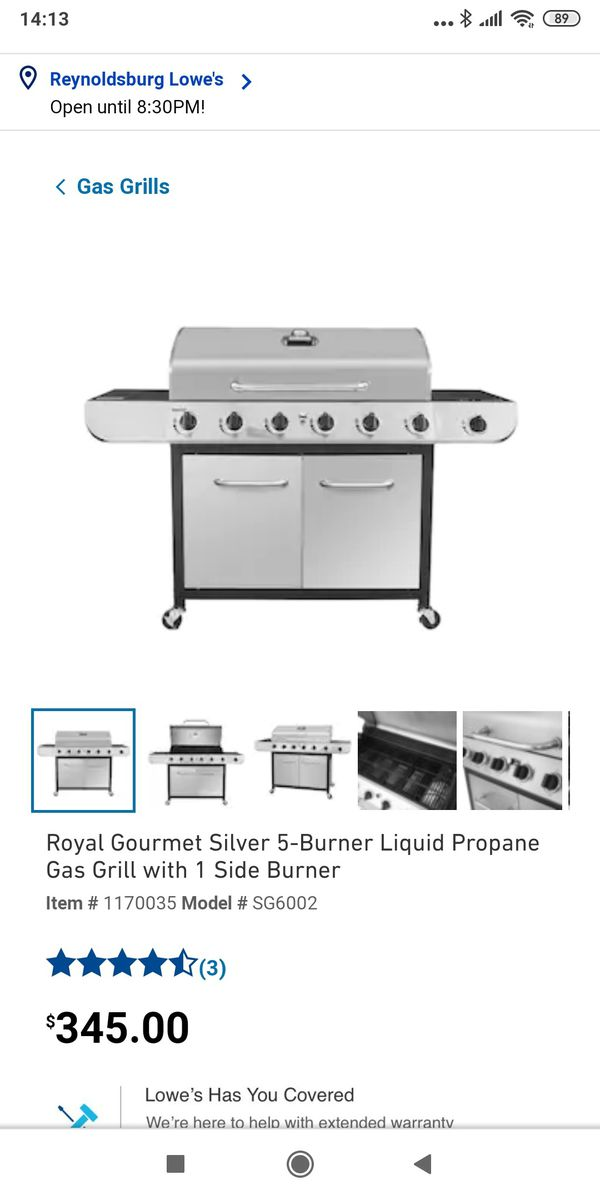 Royal Gourmet sg6002 cabinet propane gas grill with side burner, 6-burner