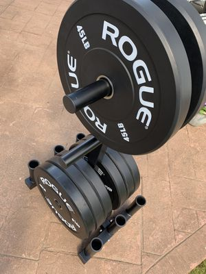 ROGUE Olympic Plates and Weight Tree with 6 Barbell Holder for Sale in Columbus, OH