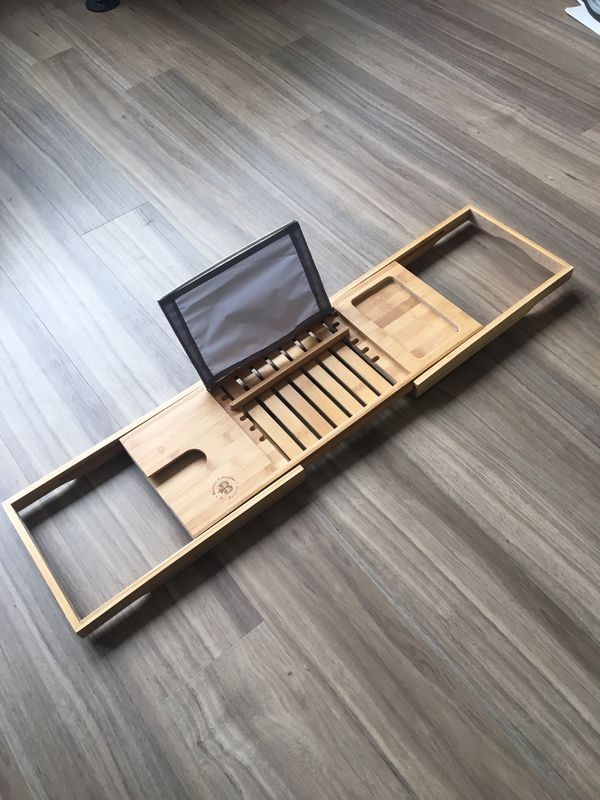 Bamboo bath tray with book holder and wine glass holder