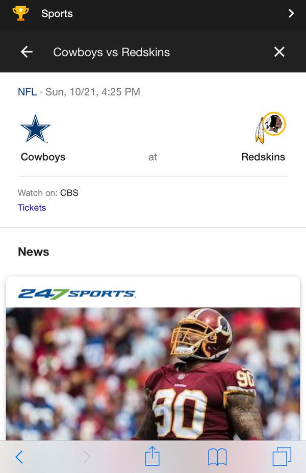 Redskins and Cowboys game ticket 10/21/18 @ 4:25 pm