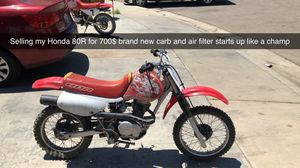 Honda XR 80R dirt bike new carb new tubes new industrial quality chain for Sale in Selma, CA