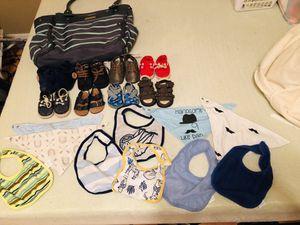 Newborn shoes diaper bag bibs for Sale in San Antonio, TX