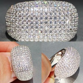 *NEW ARRIVAL* Dazzling Created White Sapphire Pave Dome Ring stamped 925 SZ 6 - 10 *See My Other 300 Items** for Sale in Palm Beach Gardens, FL