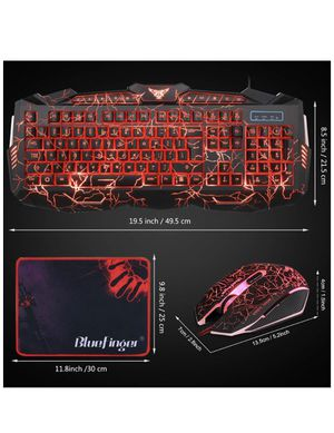 BlueFinger LED Gaming Keyboard and Mouse Combo,Mechanical Feeling USB Wired Keyboard Mouse Game Set,114 Keys Letters Glow,3 Color Breathing LED Crack for Sale in Riverside, CA