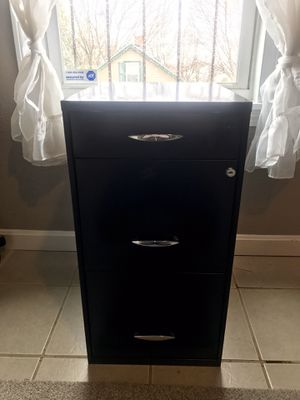 3 Drawer locking File Cabinet Black for Sale in North Providence, RI