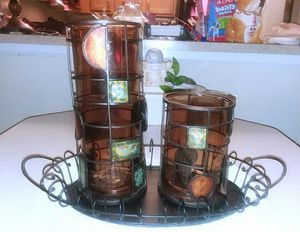 Pair Large Hurricane Candle Holders/Tray for Sale in Washington, DC