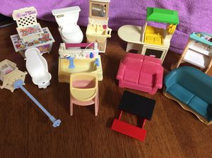 Vintage collectible pretend play dollhouse furniture Little Tikes Fisher Price Mattel etc for Sale in El Mirage, AZ