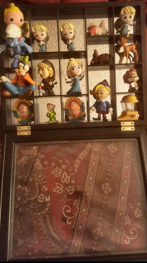 Wall Hanging Curio Cabinet Box for Miniature Collection Mirrored Back 13x11 for Sale in Riverside, CA