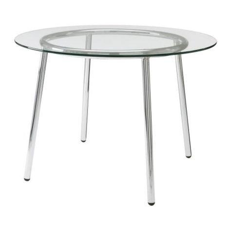 """Ikea round 40"""" dia. glass kitchen table"""