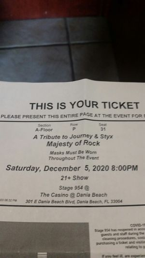 Journey & Styk, A tribute to. Majesty of Rock, Saturday, December 5, 2020, @ 8 pm. for Sale in Fort Lauderdale, FL