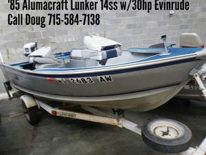 1985 Alumacraft Lunker 14ss w/30hp Evinrude for Sale in Shawano, WI