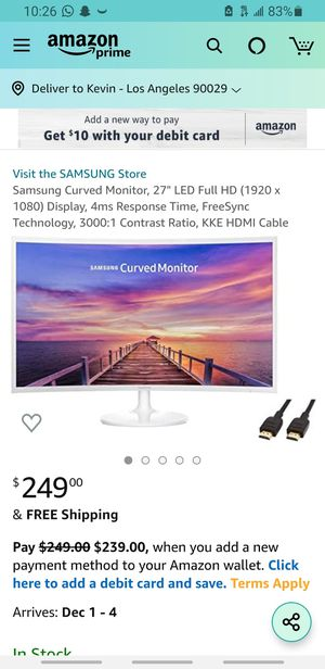 Samsung curved monitor 27in for Sale in Los Angeles, CA