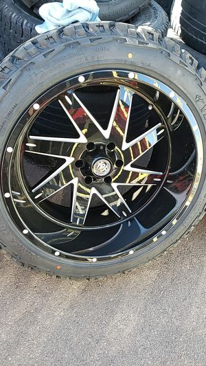 22x12 black hardcore rims 6 lug 6x139 whit New MUD tires 33 1250 22 lt for Sale in Phoenix, AZ