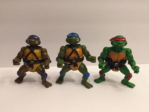 1988 TMNT 3 Turtle Lot - With Belts - Teenage Mutant Ninja - Vintage Action Figure Toy Playmates for Sale in Lisle, IL
