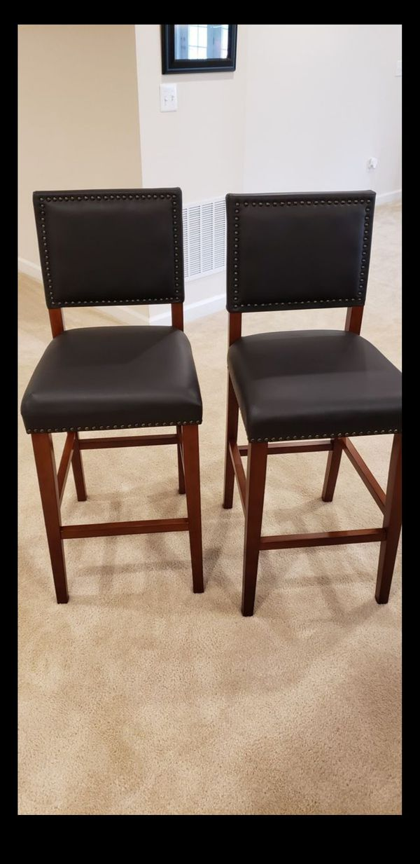 Mocha Leather Bar Stools.
