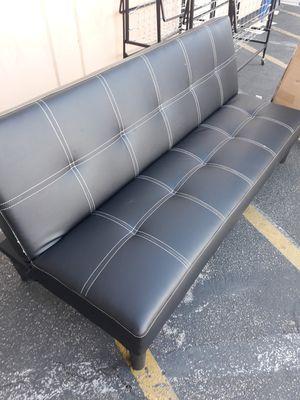 All black leather futon for Sale in Rialto, CA