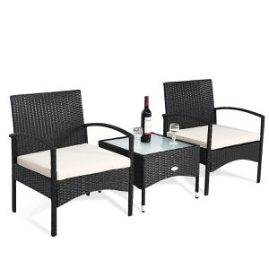 3 PCS Patio Wicker Rattan Furniture Set Coffee Table & 2 Rattan Chair W/Cushion for Sale in Orlando, FL