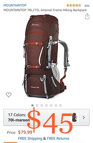 MOUNTAINTOP 70L/75L Internal Frame Hiking Backpack for Sale in Ontario, CA