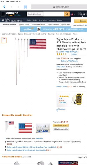 Taylor Made Products 917 Aluminum Boat 3/4-Inch Flag Pole With Charlevoix Clips (30-Inch) for Sale in Barberton, OH
