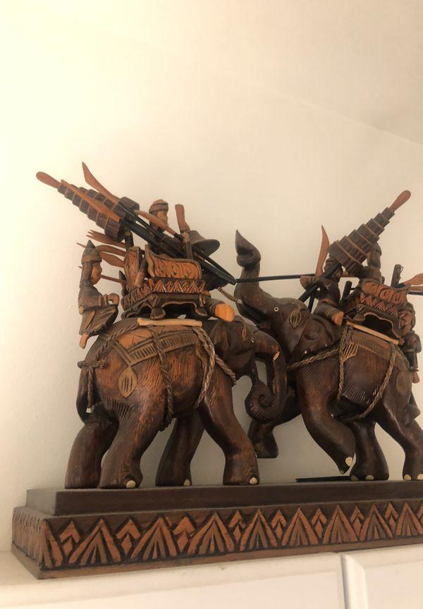Thai Warring Elephants Wood Carving