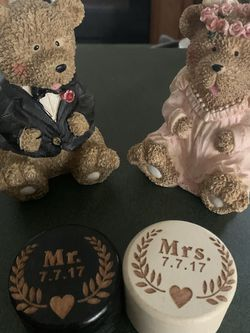 Wedding Ring Holders 7/7/17 And His & Hers Wedding Bear Decor for Sale in Stonecrest,  GA