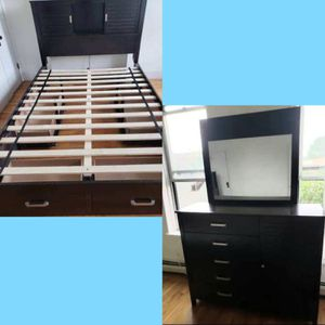 Real wood queen size 4 drawers storage bed frame and lighted bookshelve headboard/ dresser mirror/ was $700 for Sale in Queens, NY
