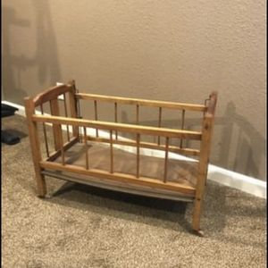 Antique Doll Crib And High Chair for Sale in Arvada, CO
