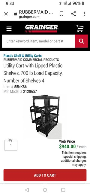Rubbermaid 4 Shelf heavy duty Cart for Sale in North Springfield, VA
