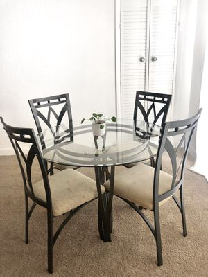 Circle Glass Table with 4 chairs for Sale in Germantown, MD