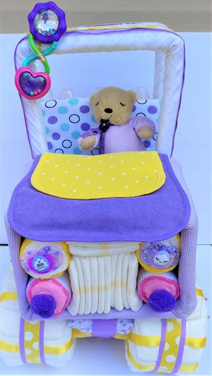 Beautiful Lavender & Yellow Baby Girl Diaper Jeep - Handmade for Sale in Fort Hunt, VA