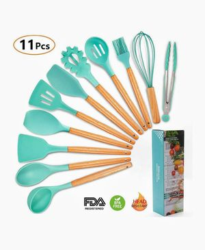 11PCS Silicone Cooking Utensils Kitchen Utensil Set with Wooden Handles, BPA Free Nonstick Non-Scratch and Heat Resistant Cookware Set Great Kitchen for Sale in Palatine, IL