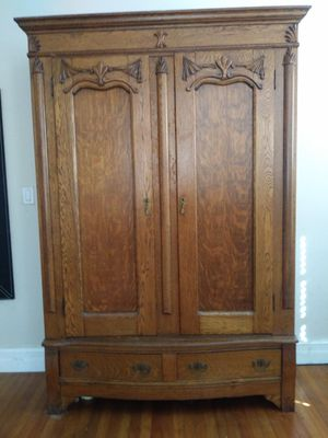 Large antique armoire solid heavy Oak beautiful for Sale in Miami Beach, FL