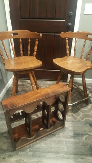 Pair of wooden swivel bar stools and wine rack glass holder. for Sale in Castro Valley, CA