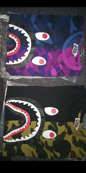 Bape shirts black camo and blue and purple size s in mens for Sale in Lowell, MA