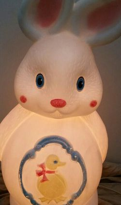"Vintage RARE Easter Bunny LIGHT UP Blow Mold Rabbit Chick In Basket On Belly 22"" for Sale in La Verne,  CA"