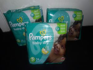 Pampers Baby Dry Size 5 Bundle: 72 diapers for $20 for Sale in Garland, TX