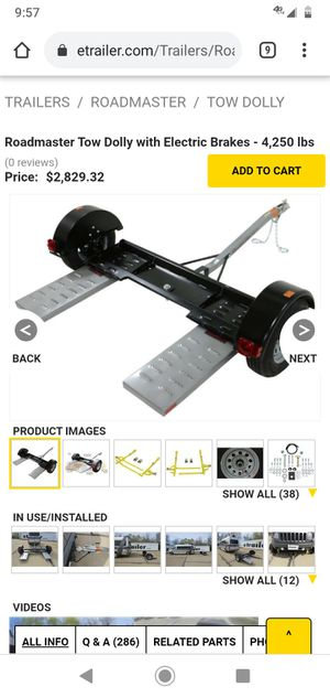Roadmaster tow dolly with electric brakes 4,250lb for Sale in Benson, NC