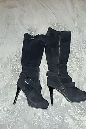 Black. buckle design zip up boots for Sale in Salt Lake City, UT
