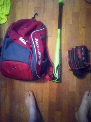 Easton youth baseball bag. 27 inch youth Rawlings bat. 11 inch Rawlings glove. Will throw in red Rawlings batting helmet. for Sale in Alvarado, TX
