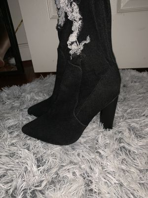 Thigh high black denim distressed boots for Sale in Gambrills, MD