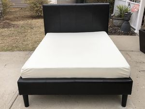 Full Leather Bed with Headboard, Footboard, Side Rails, Slats and Memory foam Mattress. Very good condition for Sale in Raleigh, NC