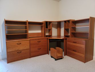Scan Danish Furniture - Corner Desk, 3 matching File Cabinets, 4 matching Hutches, rolling Computer tower stand for Sale in McLean,  VA