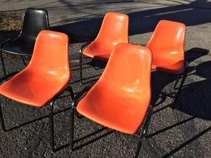 5 Plastic top Metal legs chairs. In Blacksburg, VA No Holds. Pickup only for Sale in Blacksburg, VA