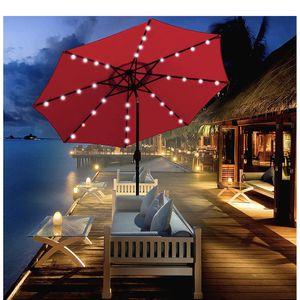 9 ft Solar Umbrella 32 LED Lighted Patio Umbrella Table Market Umbrella with Tilt and Crank Outdoor Umbrella for Garden, Deck, Backyard, Pool for Sale in Rancho Cucamonga, CA