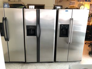 General Electric stainless steel side by side refrigerator excellent condition with external water and ice from 369 to 399 thank you for looking for Sale in Modesto, CA
