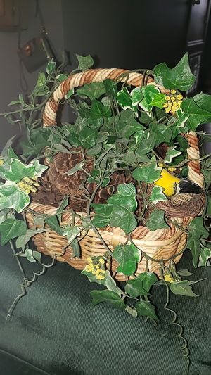 Decorative basket with fake plant for Sale in Wesley Chapel, FL